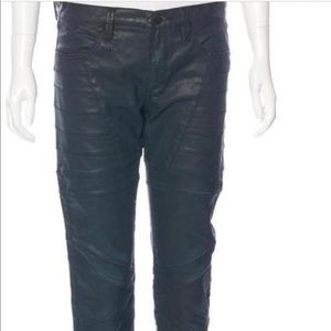 Herve Leger Lance coated moto style jeans 6